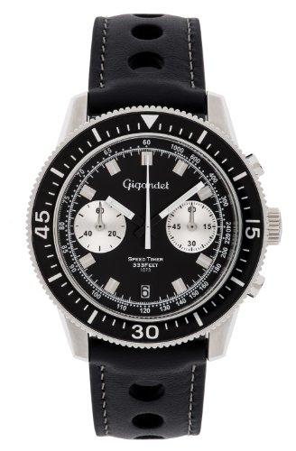 Gigandet Speed Timer Vintage Herren Chronograph - Armbanduhr mit Datumsanzeige und Lederarmband - Schwarzes Zifferblatt - G7-005