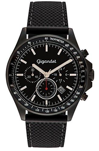 Schwarzer Herren-Chronograph mit Kunststoff-Armband