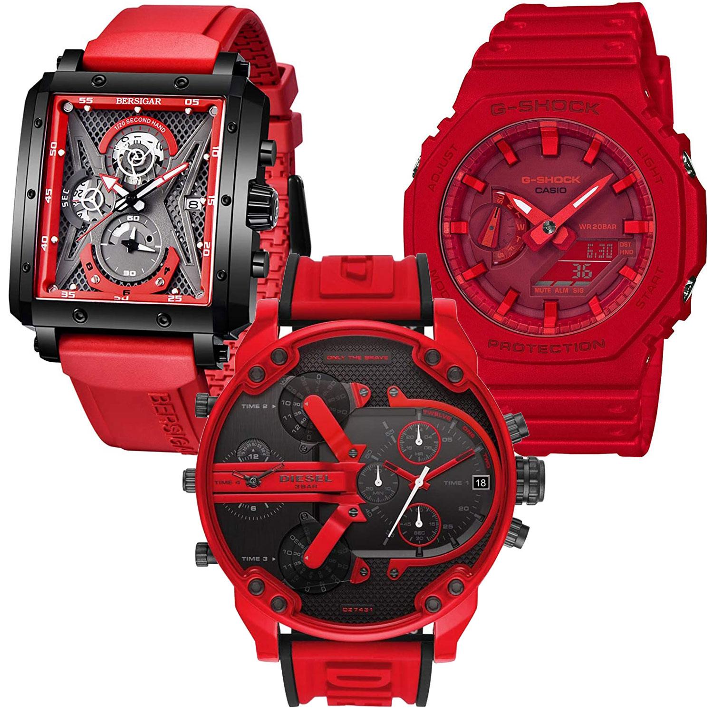 Rote Herrenuhren und Chronographen