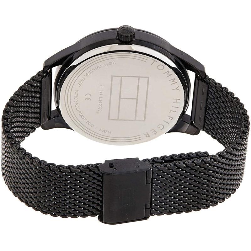 Schwarzes Milanaise-Armband der Tommy Hilfiger Uhr