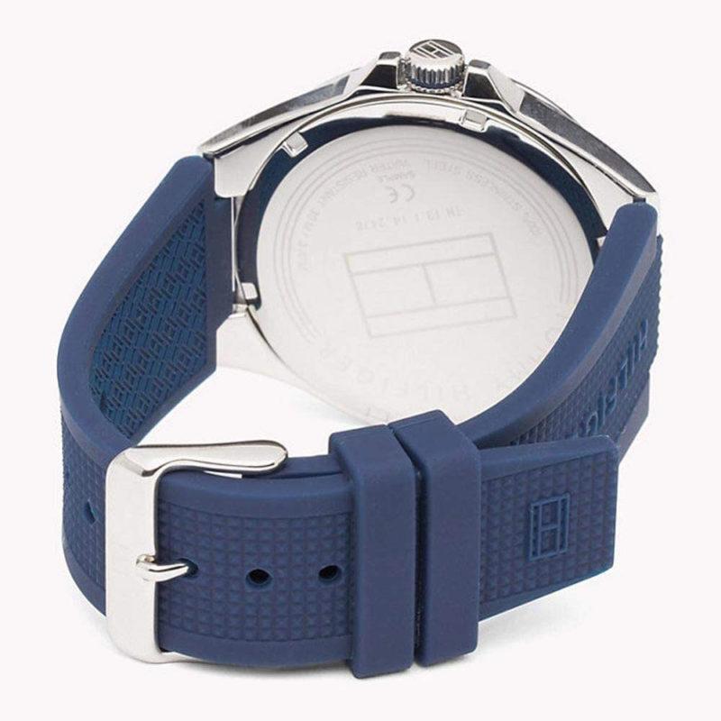 Blaues Silikonarmband der Tommy Hilfiger Uhr