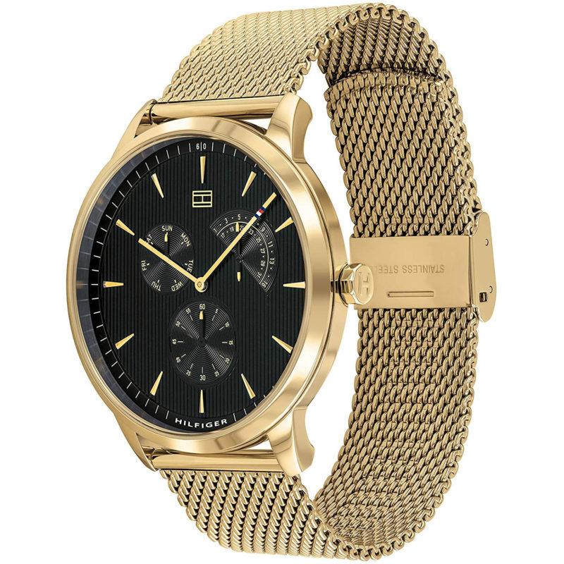 Schwarz-Goldene Tommy Hilfiger Uhr