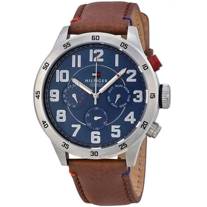 Tommy Hilfiger Uhr mit blauem Zifferblatt und Lederarmband